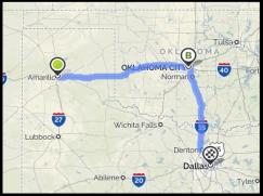 Map Ama, Ok, Dallas